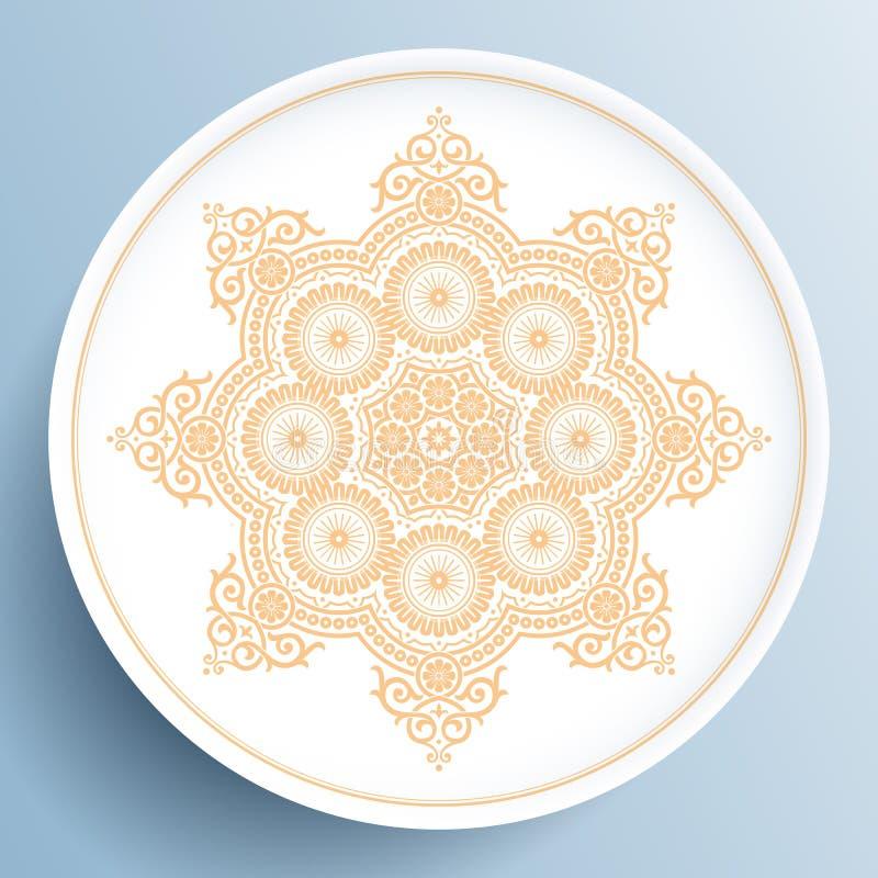 Bielu talerz z złocistym kwiecistym ornamentem ilustracja wektor