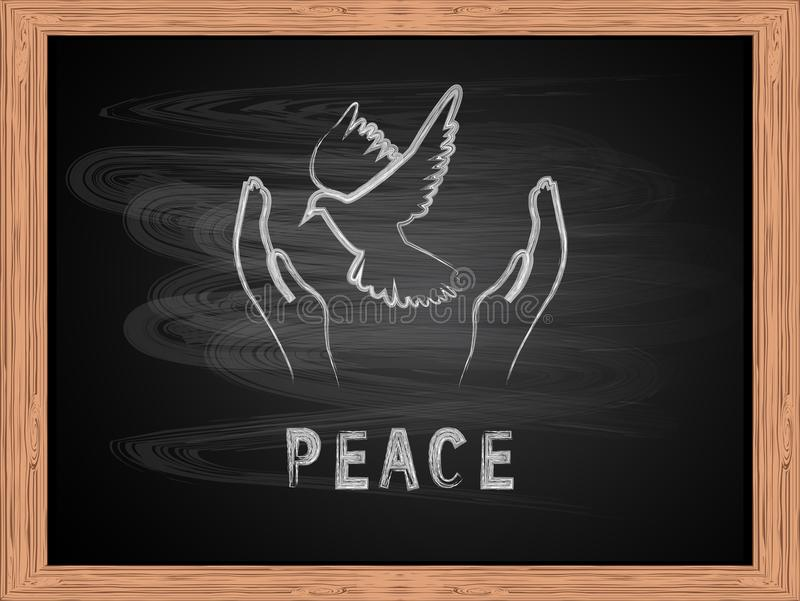 Bielu teksta latania i pokoju kredowa gołąbka na szkolnego blackboard płaskim projekcie royalty ilustracja