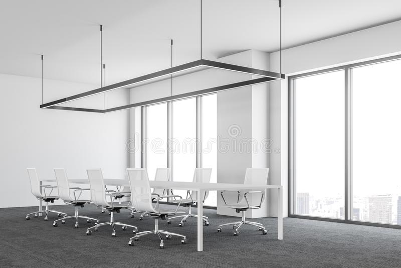 Bielu ultra nowożytnego biurowego pokoju konferencyjnego boczny widok ilustracja wektor