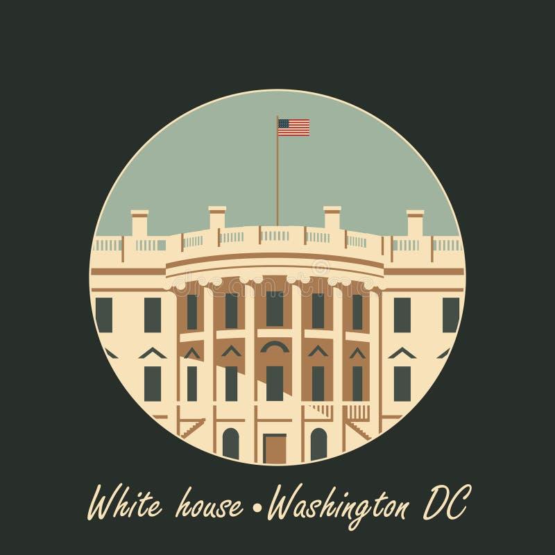 Bielu Washington domowy dc z flaga ilustracja wektor