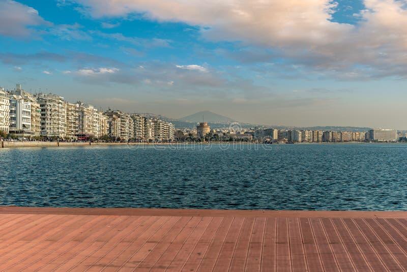 Bielu wierza Saloniki miasta Panoramiczny widok obrazy royalty free