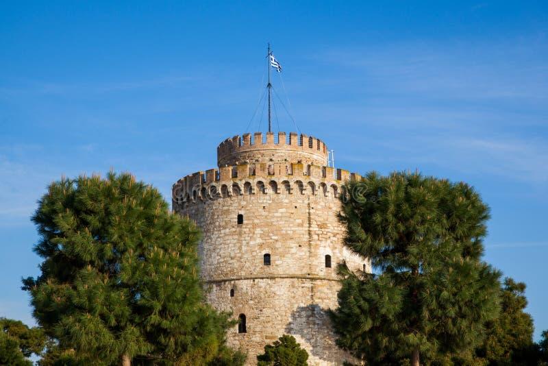 Bielu wierza w Saloniki, Grecja zdjęcie stock