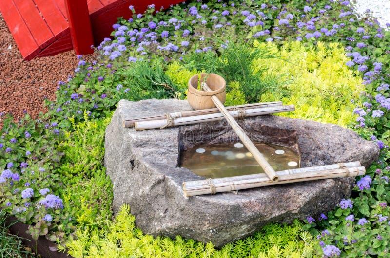 Bien con agua y una cuchara Bien de la felicidad Fuente de agua imagen de archivo libre de regalías