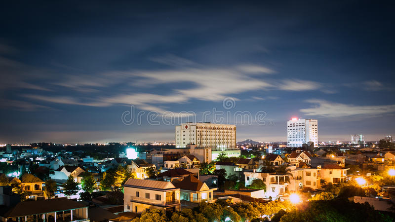 Bien Hoa City, Vietnam. From left to right: 2 buildings are Nai General Hospital and Wooshu Plaza royalty free stock photography