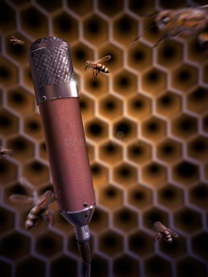 Biene, die in ein Mikrofon- Digital-Anstrich singt lizenzfreie stockbilder