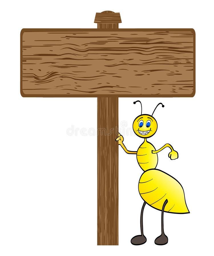 Biene mit hölzerner Fahne vektor abbildung