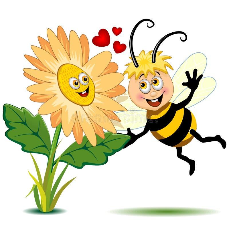 Biene und Blume Liebes-in der netten Zeichentrickfilm-Figur-Vektor-Illustration vektor abbildung