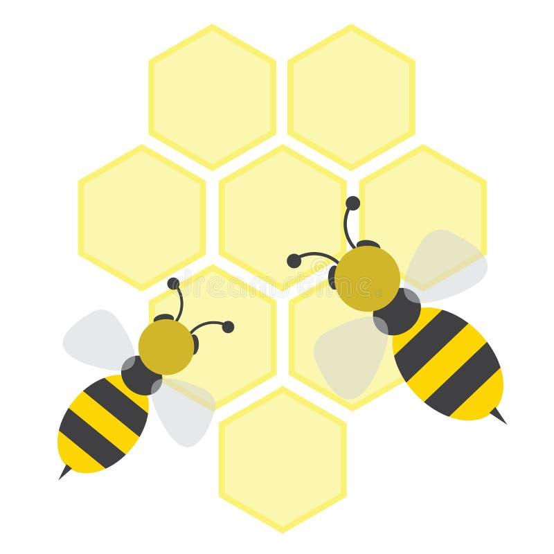 Bienen auf honeycells stock abbildung