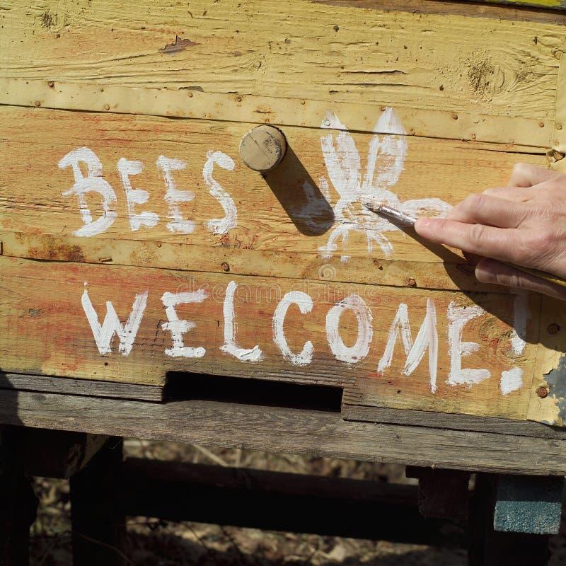 Bienen sind im Bienenstock willkommen lizenzfreies stockbild