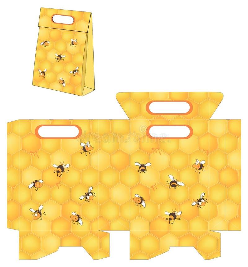 Bienen und die Bienenwabe der Biene Handtasche verpackt Muster vektor abbildung