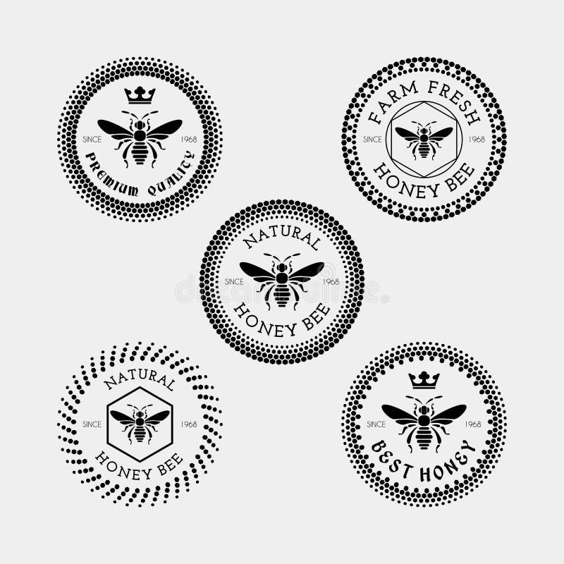 Bienenaufkleber und -ausweis vektor abbildung