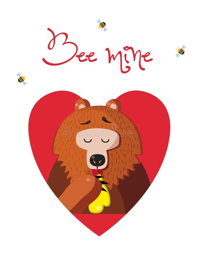 Bienenbergwerk-Grußkarte des netten Bären Honig auf weißem Hintergrund essend lizenzfreie abbildung