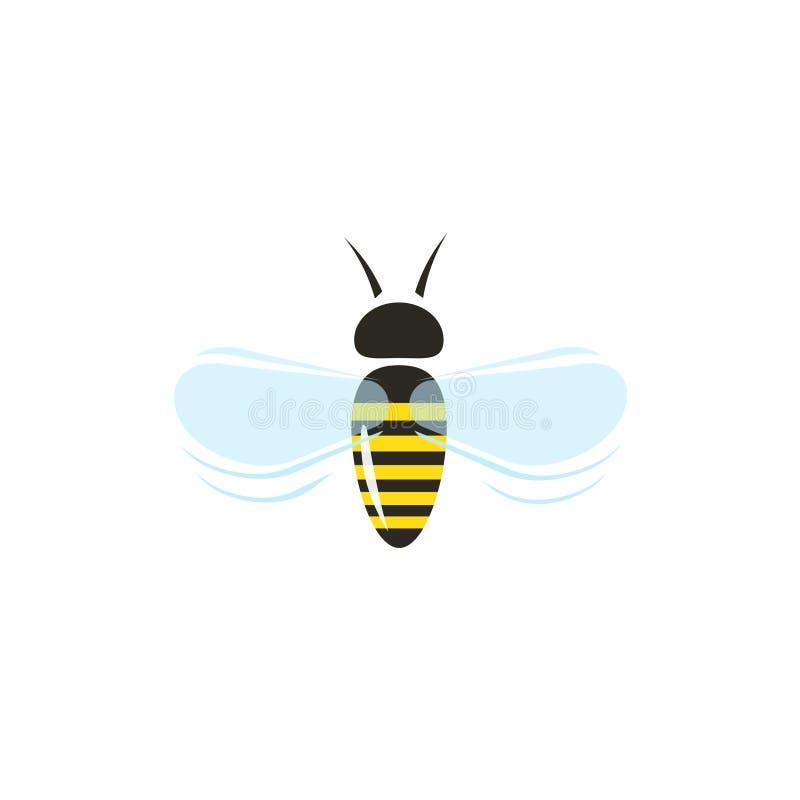 Bienenfliegen-Vektorikone lokalisiert auf weißem Hintergrund lizenzfreie abbildung