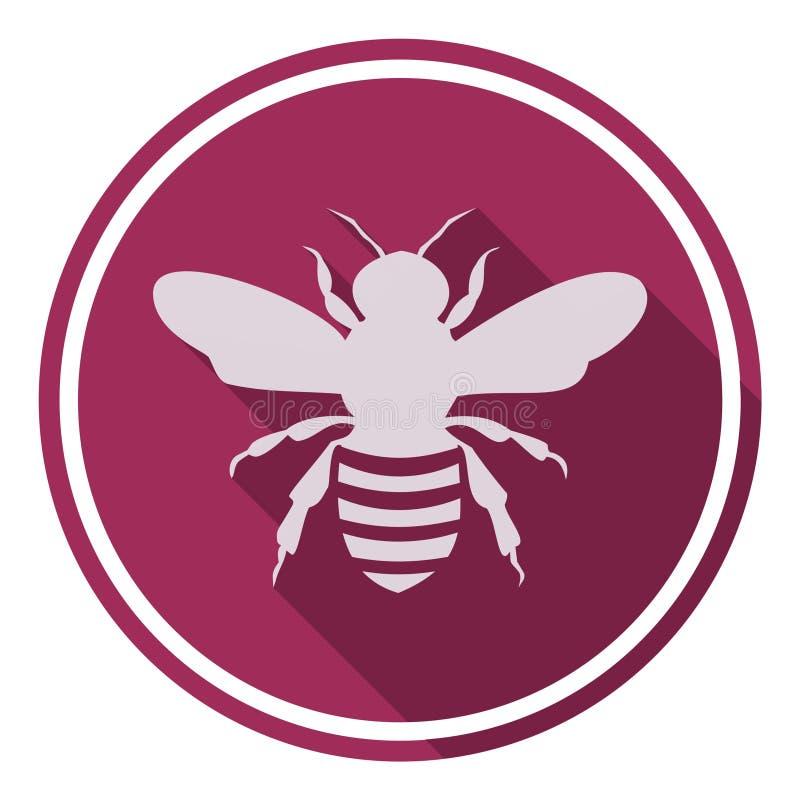 Bienenikone mit langem Schatten lizenzfreie abbildung