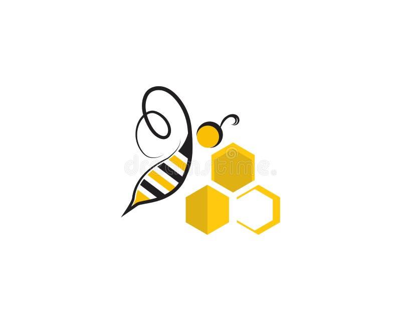 Bienenlogo- und -symbolvektorschablonen vektor abbildung