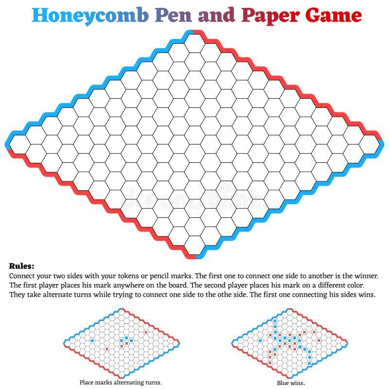 Bienenwaben-Hexen-Stift und Papierspiel vektor abbildung