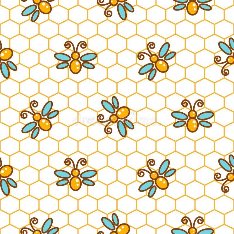 Bienenwabenmuster und Bienenlinie Vektorhintergrund stock abbildung