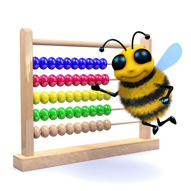 Bienenzählungen des Honigs 3d auf einem Abakus lizenzfreie abbildung