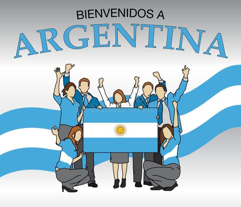Bienvenidos Argentyna - powitanie Argentyna w Hiszpańskiej język grupie ludzi ubierał w kolorach Argentyna flaga ilustracja wektor