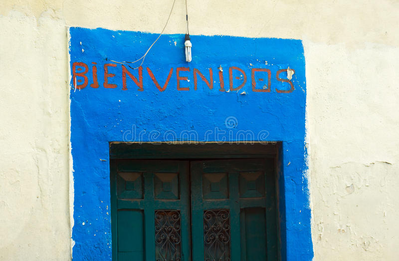 Bienvenidos Welcome sign in Spanish royalty free stock image