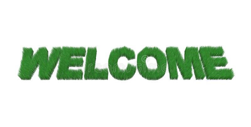Bienvenu écrit fait avec l'herbe illustration libre de droits