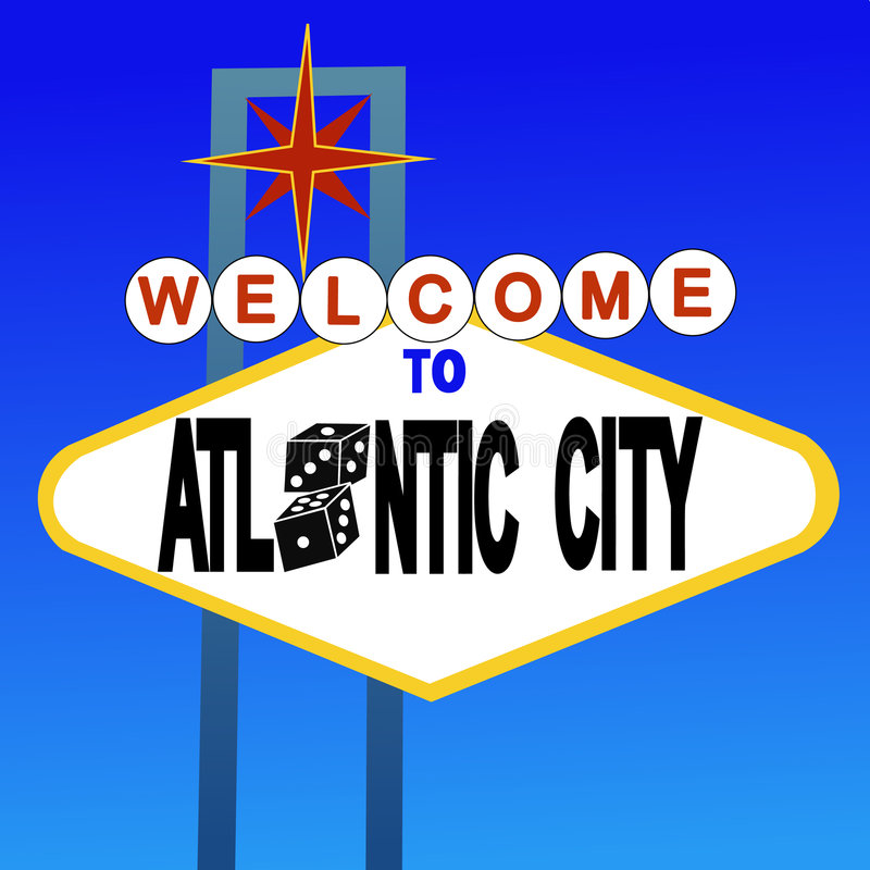 Bienvenue au signe d'Atlantic City illustration de vecteur
