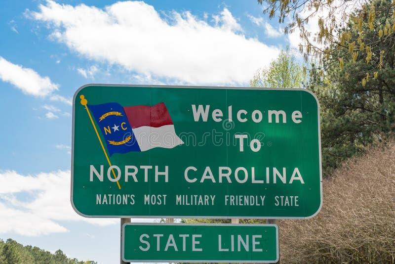 Bienvenue au signe de la Caroline du Nord image libre de droits