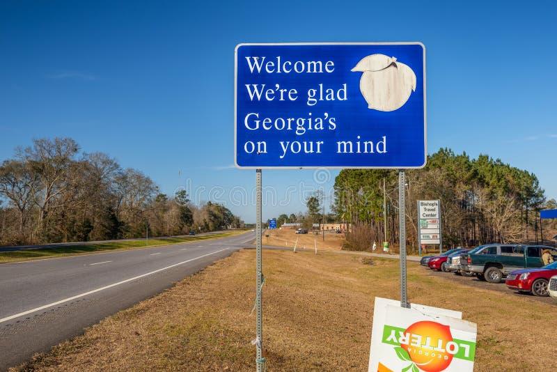 Bienvenue au signe de la Géorgie image stock
