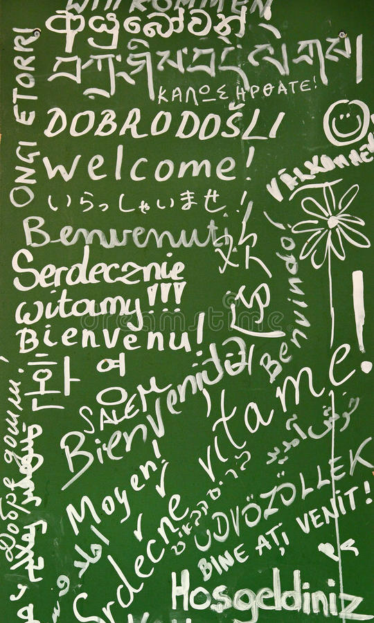 Bienvenue dans beaucoup de langages photos libres de droits