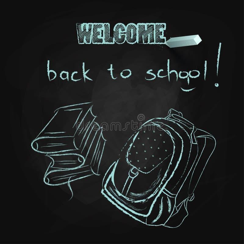 Bienvenue de nouveau à l'école Livres et sac d'école marqués à la craie sur le tableau illustration de vecteur