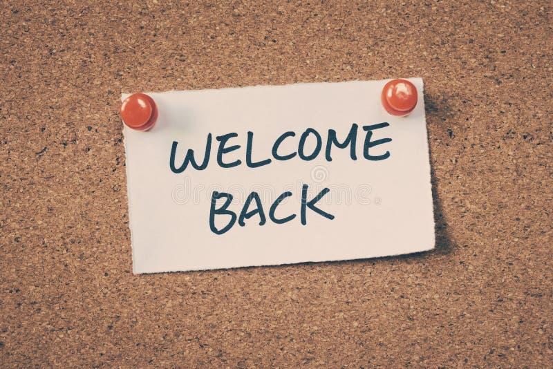 Bienvenue en arrière photos stock