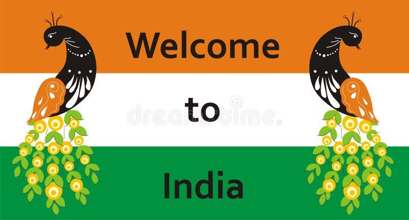 Bienvenue vers l'Inde Paon sur le fond du drapeau pour vos signes à l'hôtel ou aux invitations Illustration de vecteur illustration stock