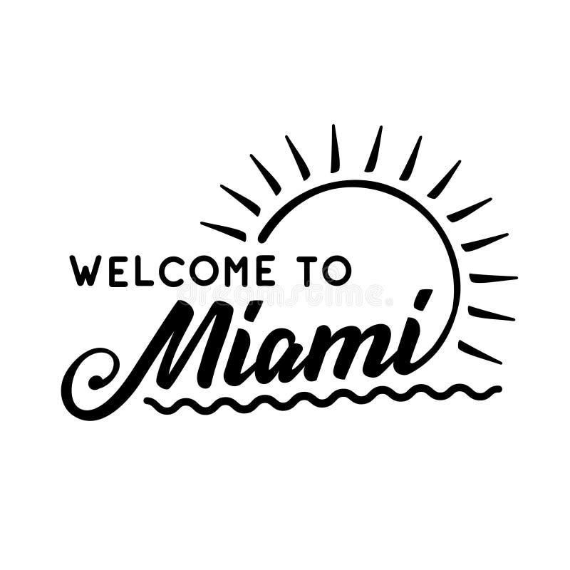 Bienvenue vers Miami Vecteur et illustration illustration stock