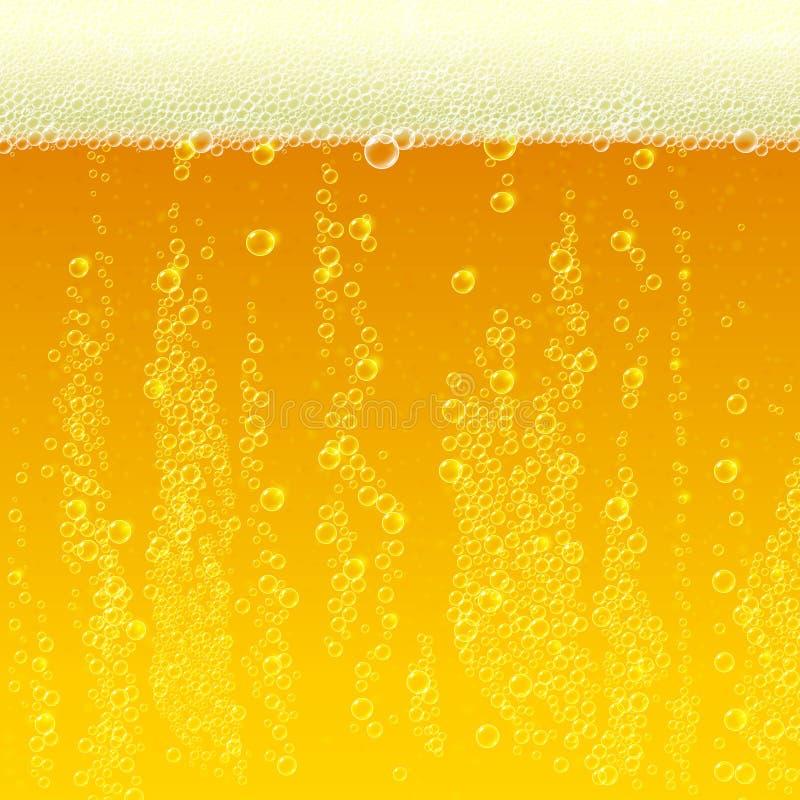 Bier achtergrondtextuur met schuim en bellen royalty-vrije illustratie