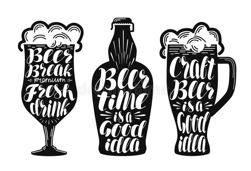 Bier, Ale, LagerKennsatzfamilie Alkoholisches Getränk, Getränk, Kneipe, Brauereisymbol oder Ikone Beschriftung, Kalligraphievekto lizenzfreie abbildung