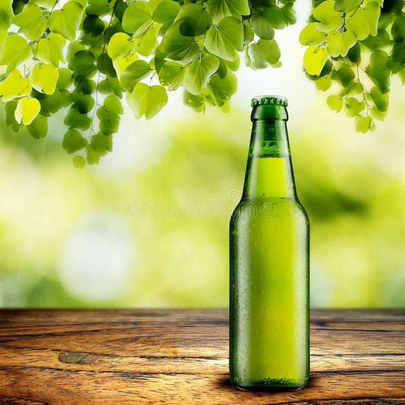 Bier auf hölzerner Tabelle lizenzfreies stockbild