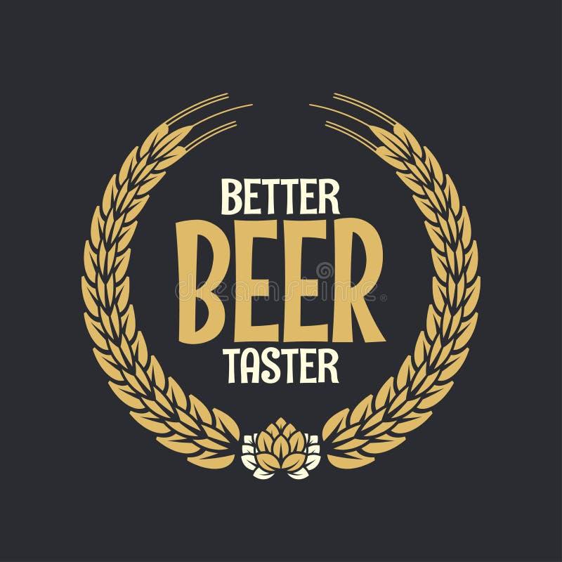 Bier-Aufkleber-Belohnung Logo On Dark Background stock abbildung