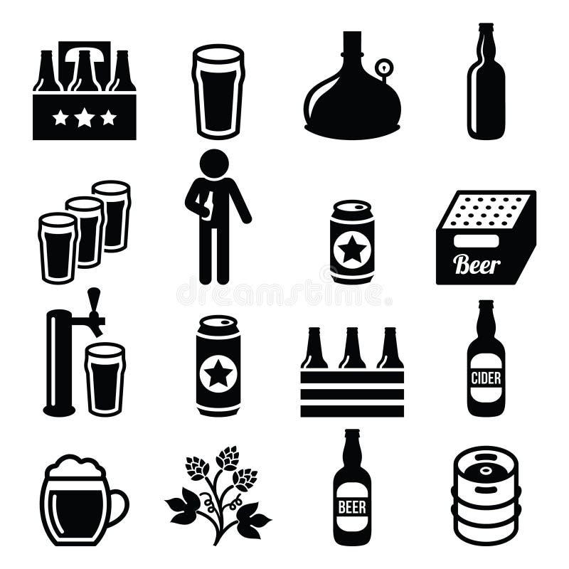 Bier, brouwerij, geplaatste bar vectorpictogrammen stock illustratie