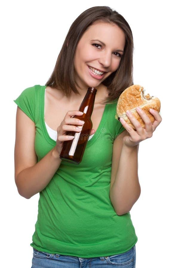 Bier-Burger-Mädchen lizenzfreies stockbild
