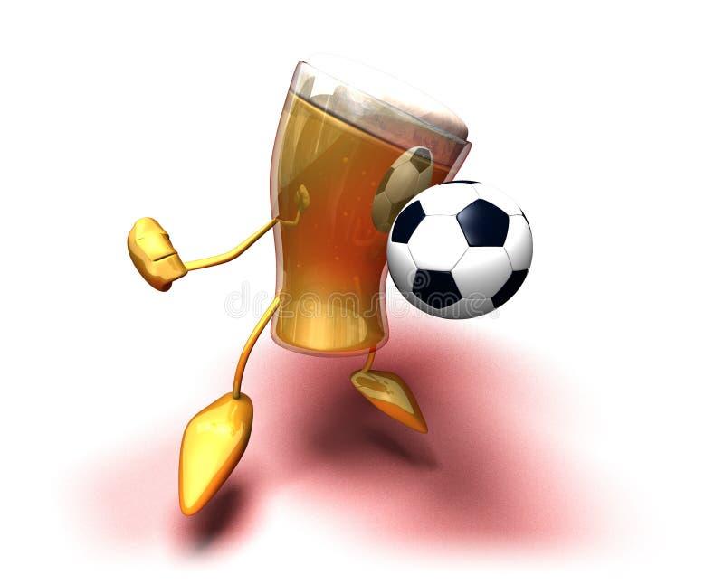 Bier, das Fußball spielt stock abbildung