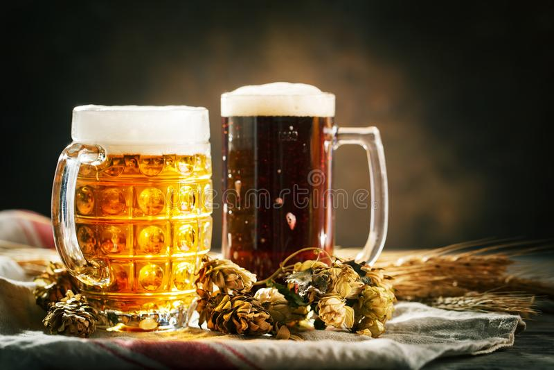 Bier in den Gläsern auf einem dunklen Hintergrund Oktoberfest Bierfestival Selektiver Fokus Hintergrund mit Kopienraum lizenzfreie stockfotografie