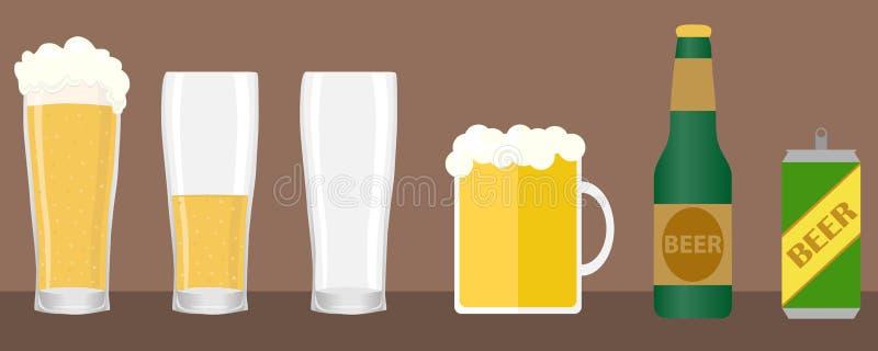 Bier, een reeks bierglazen en flessen Kan van bier stock illustratie