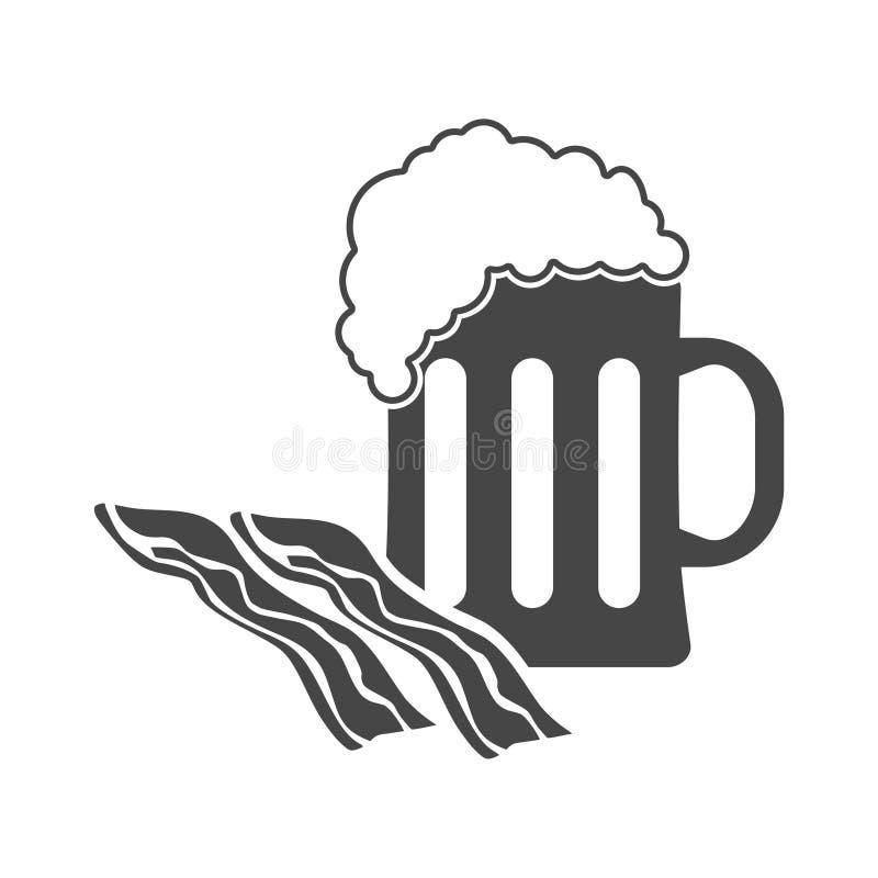 Bier en baconpictogram royalty-vrije illustratie