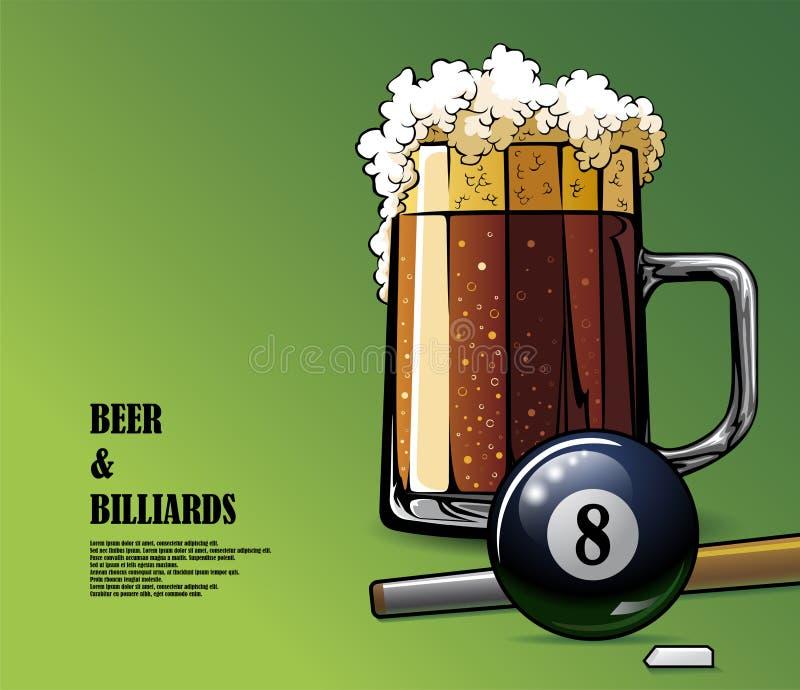 Bier en biljart geïllustreerde affiche stock illustratie