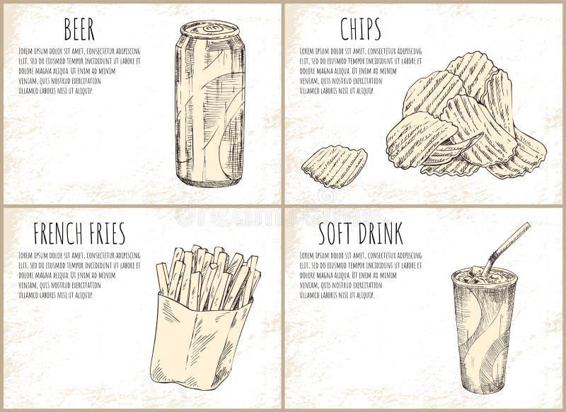 Bier en Chips Skecthes Set Vector Illustration royalty-vrije illustratie