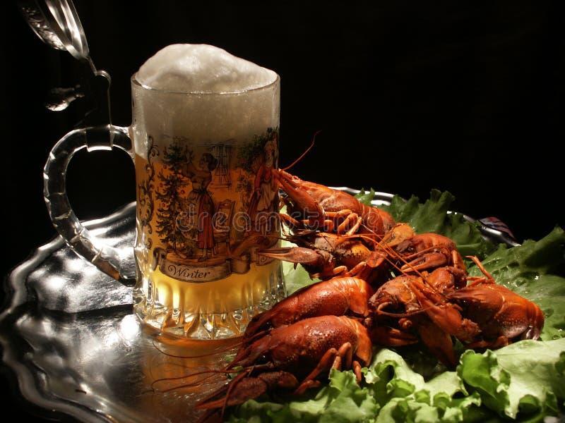 Bier en rivierkreeften stock afbeeldingen