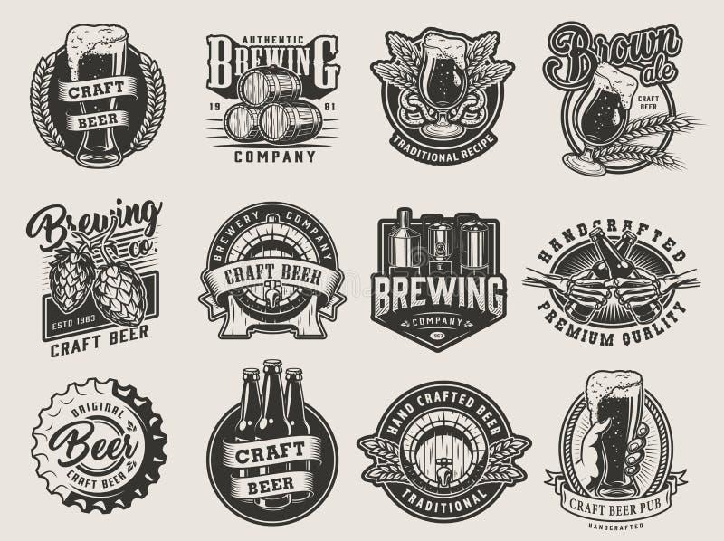 Bier-Entwurfssammlung der Weinlese einfarbige lizenzfreie abbildung