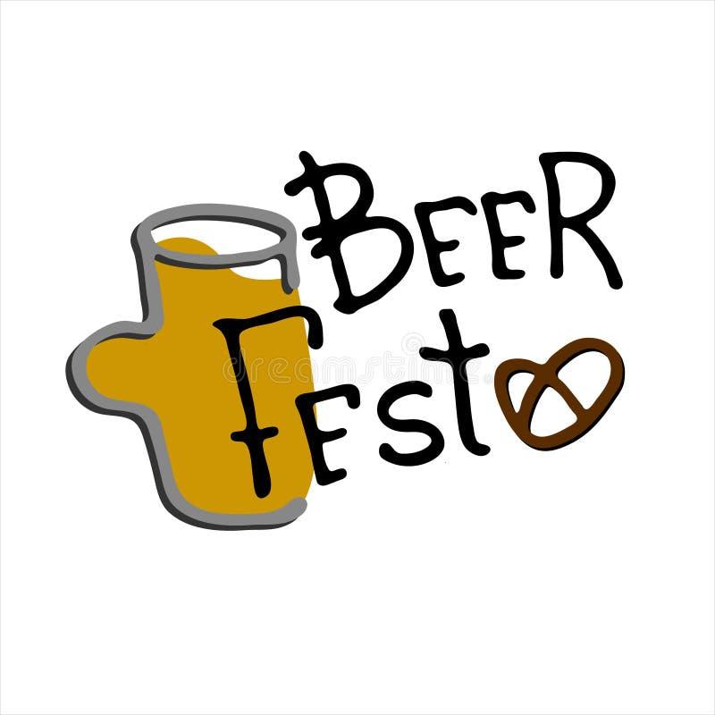 Bier Fest Logo Handgezogener Bierkrug mit Bierfest-Schrift Isoliertes Gestaltungselement vektor abbildung