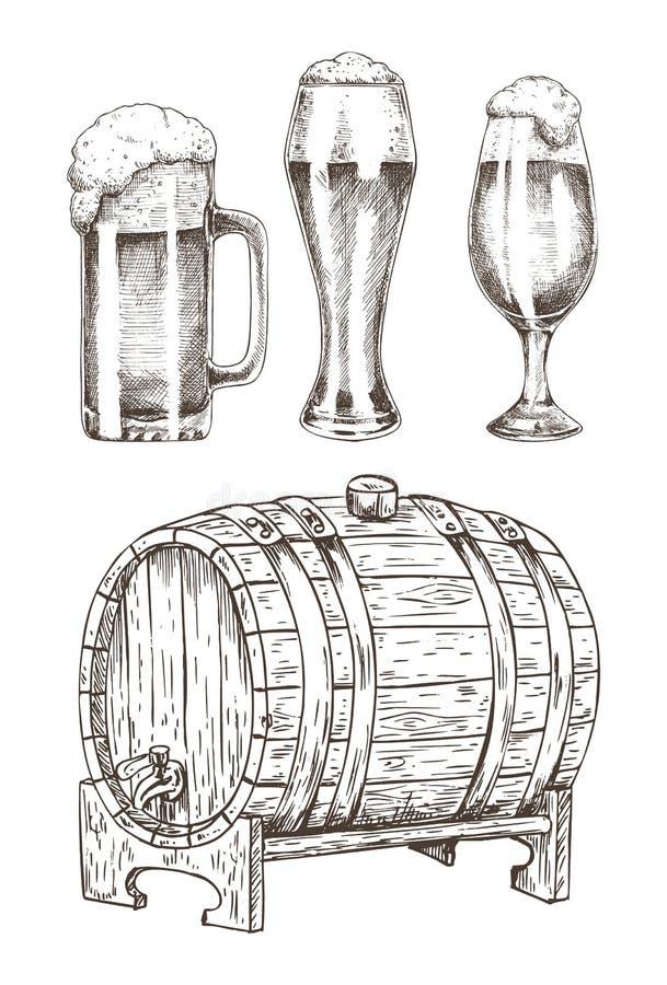 Bier Geplaatst en Rond Houten Vat Vectorillustratie stock illustratie