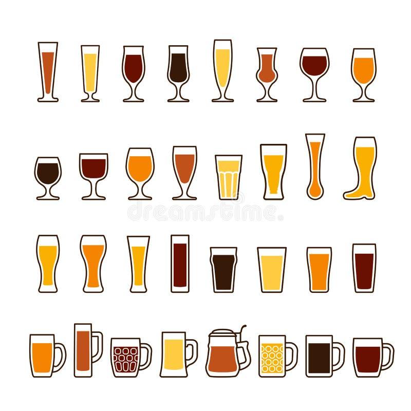 Bier in glazen en mokken, verschillende types Drie kleurenpictogrammen op kartonmarkeringen vector illustratie